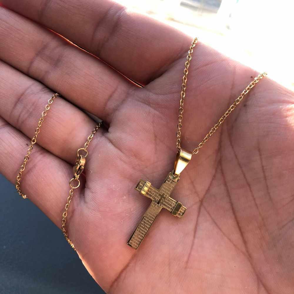 Corrente masculina cruz com oração pai nosso dourada aço inoxidável - 50cm