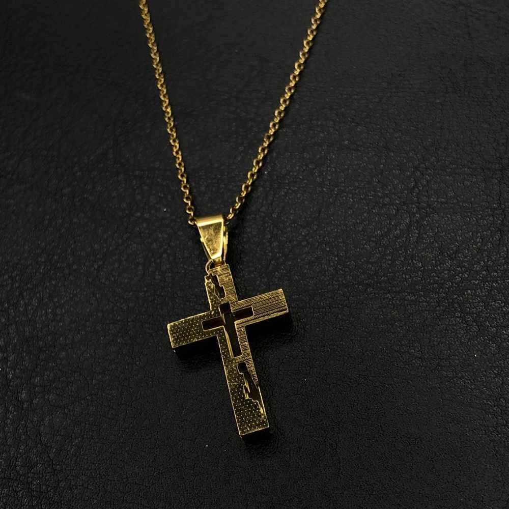 Corrente masculina cruz dourada detalhada aço inoxidável - 50cm