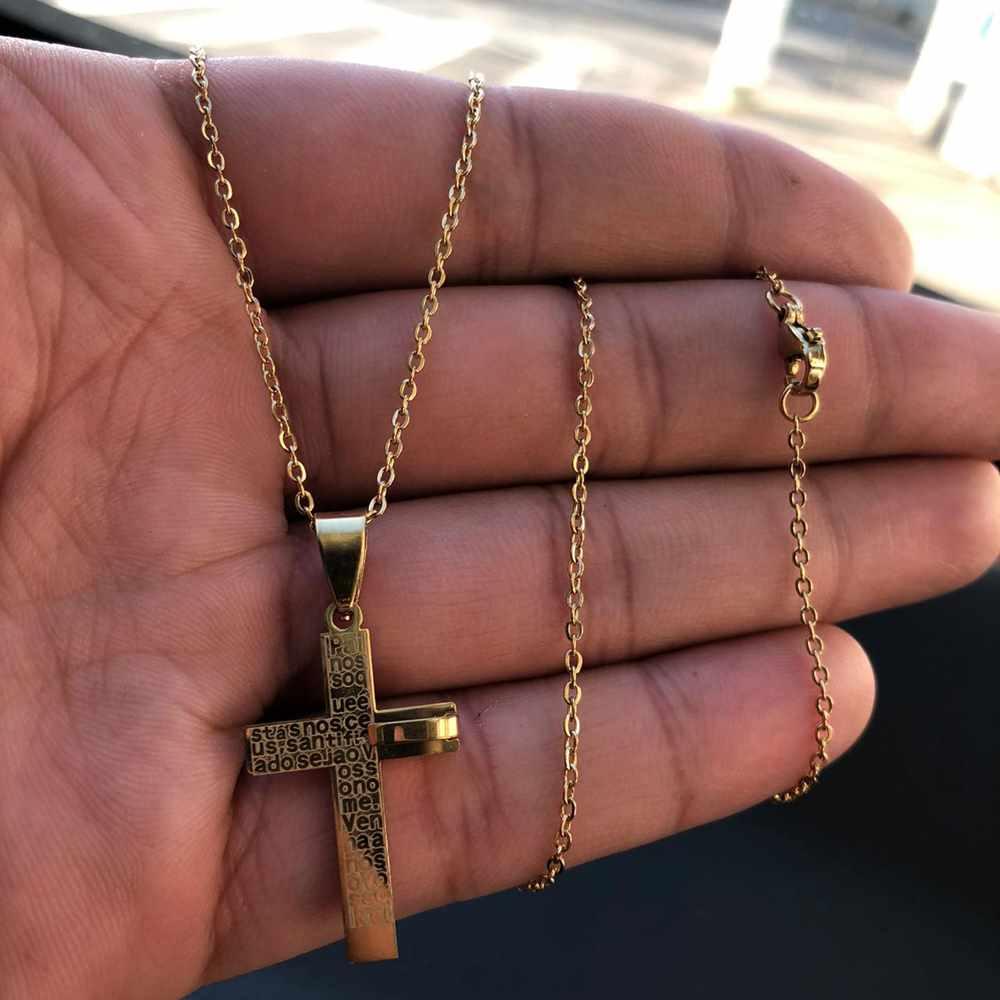 Corrente masculina cruz dourada pingente oração pai nosso aço inoxidável - 50cm