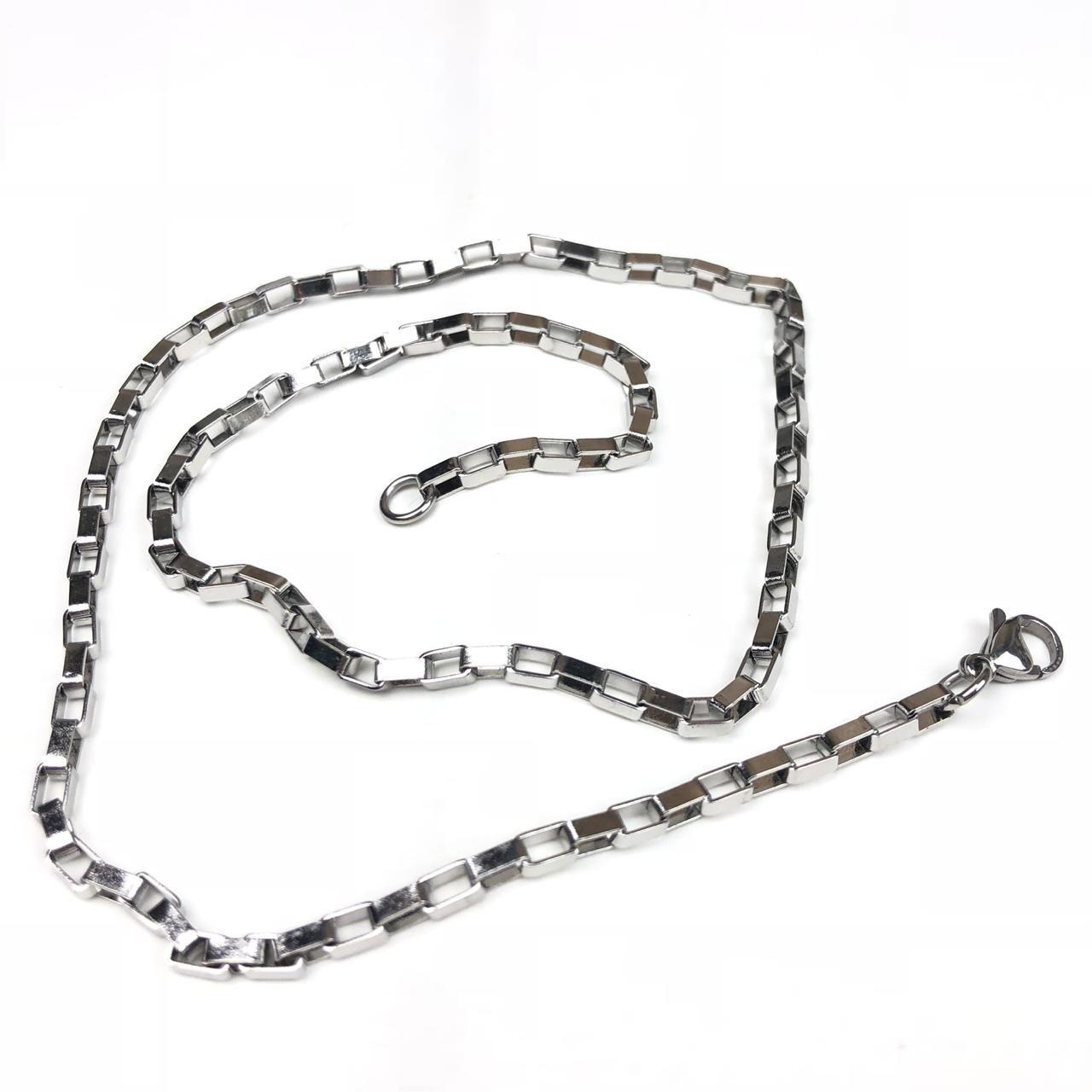 edc4595d30c Corrente Masculina de Aço Inox Prata 55cm - Diamante Rosa Shop ...