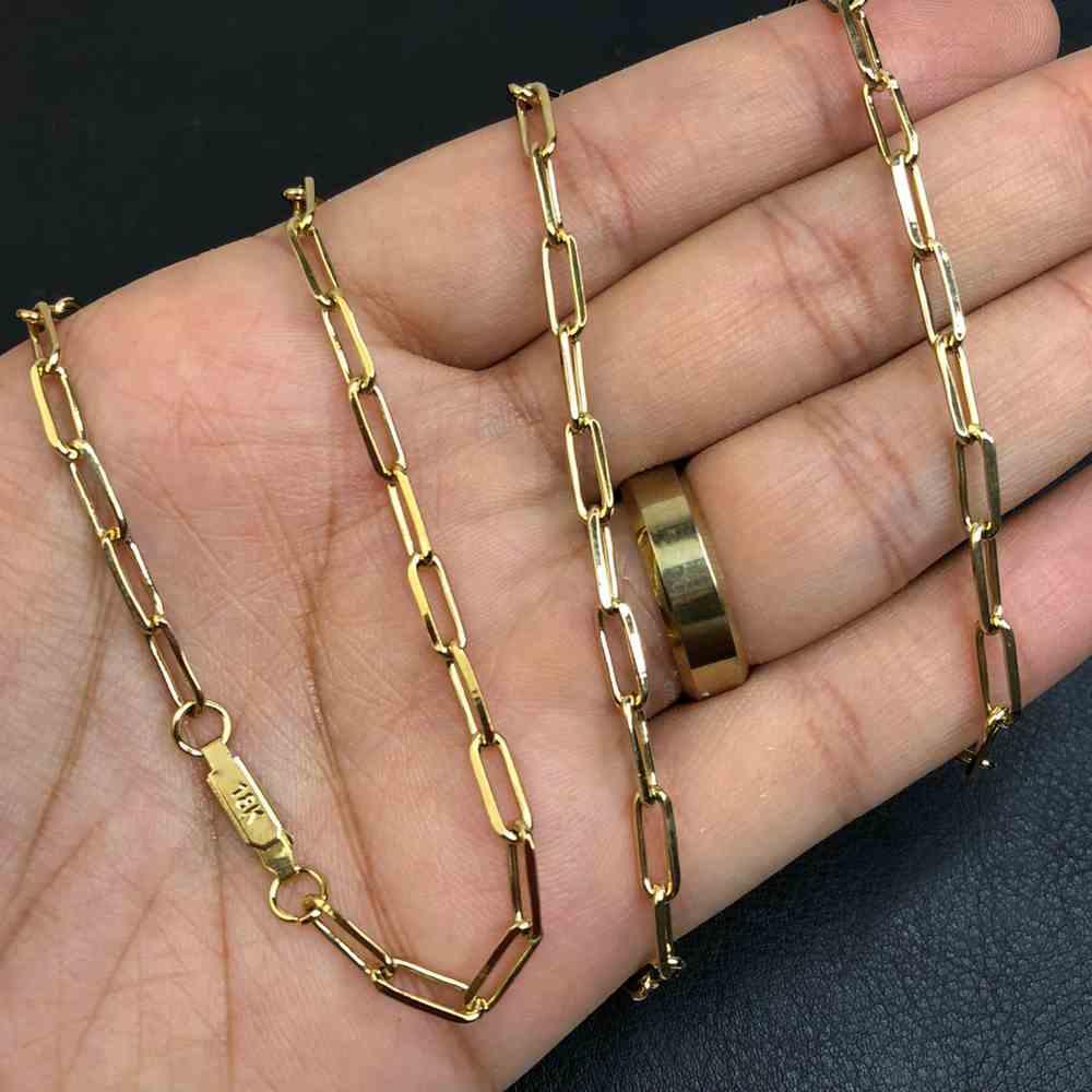 Corrente masculina dourada banhada elos abaulados de aço inox 4mm - 60cm