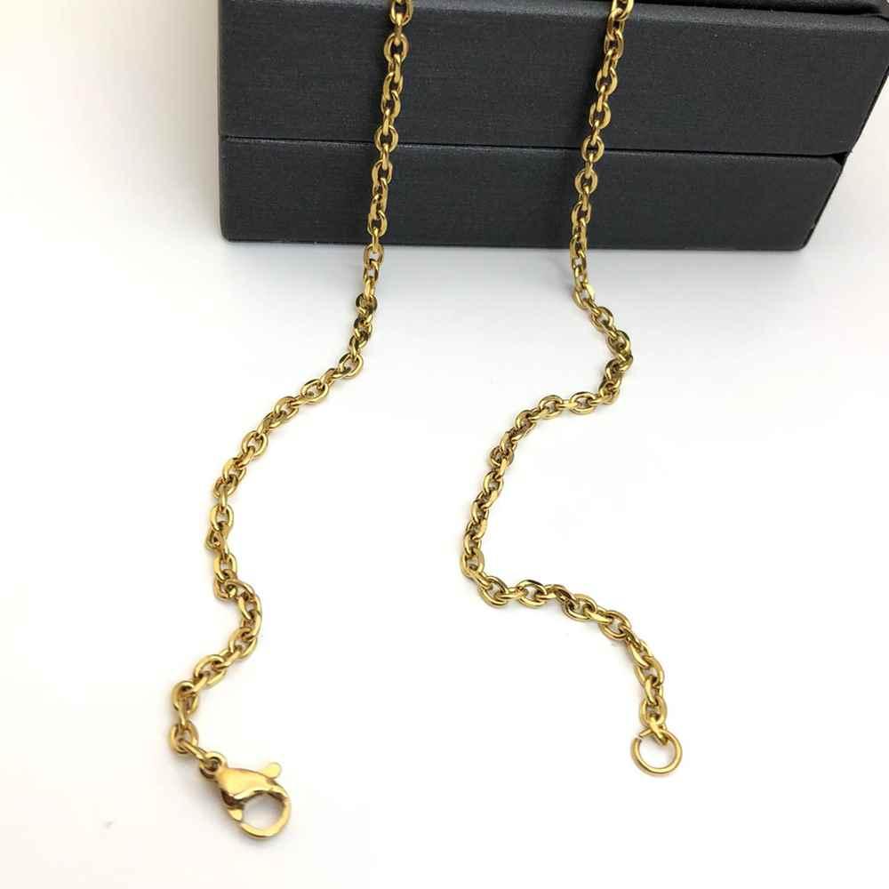 Corrente masculina dourada banhada elos cadeado abaulados aço inox 3mm - 70cm