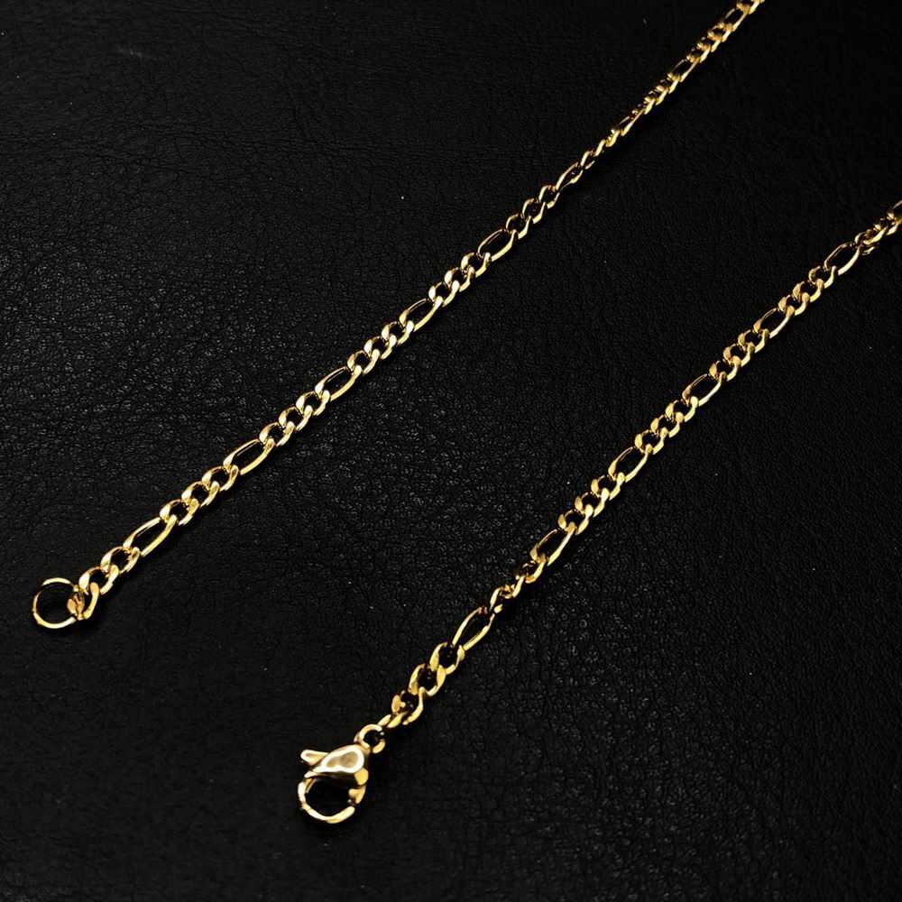 Corrente masculina dourada figaro 3x1 aço inoxidável 3mm - 60cm