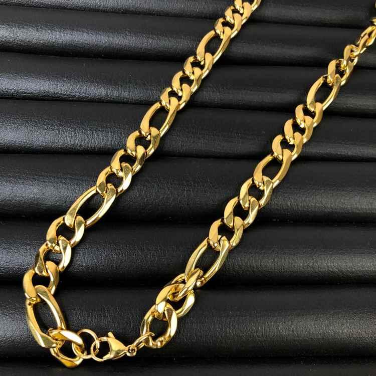 Corrente masculina dourada fígaro aço inoxidável 12mm - 70cm