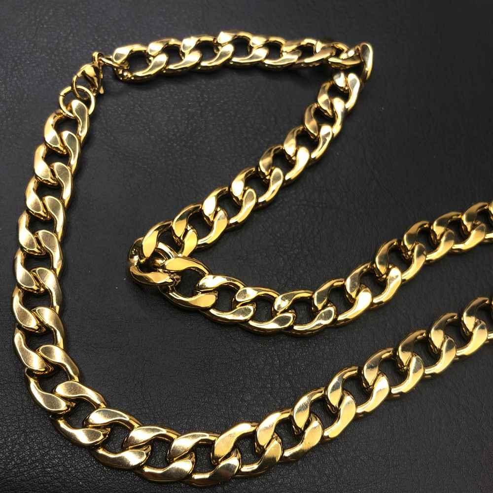 Corrente masculina dourada groumet aço inoxidável 12mm - 70cm