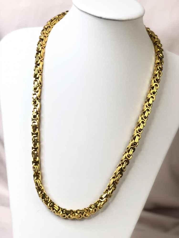 Corrente masculina dourada peruana aço inoxidável 10mm - 70cm