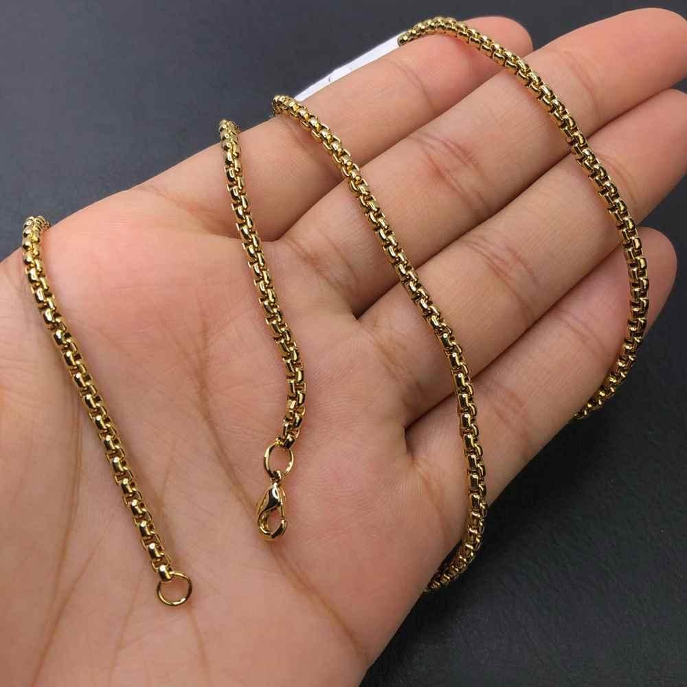 Corrente masculina dourada veneziana aço inoxidável 3mm - 60cm