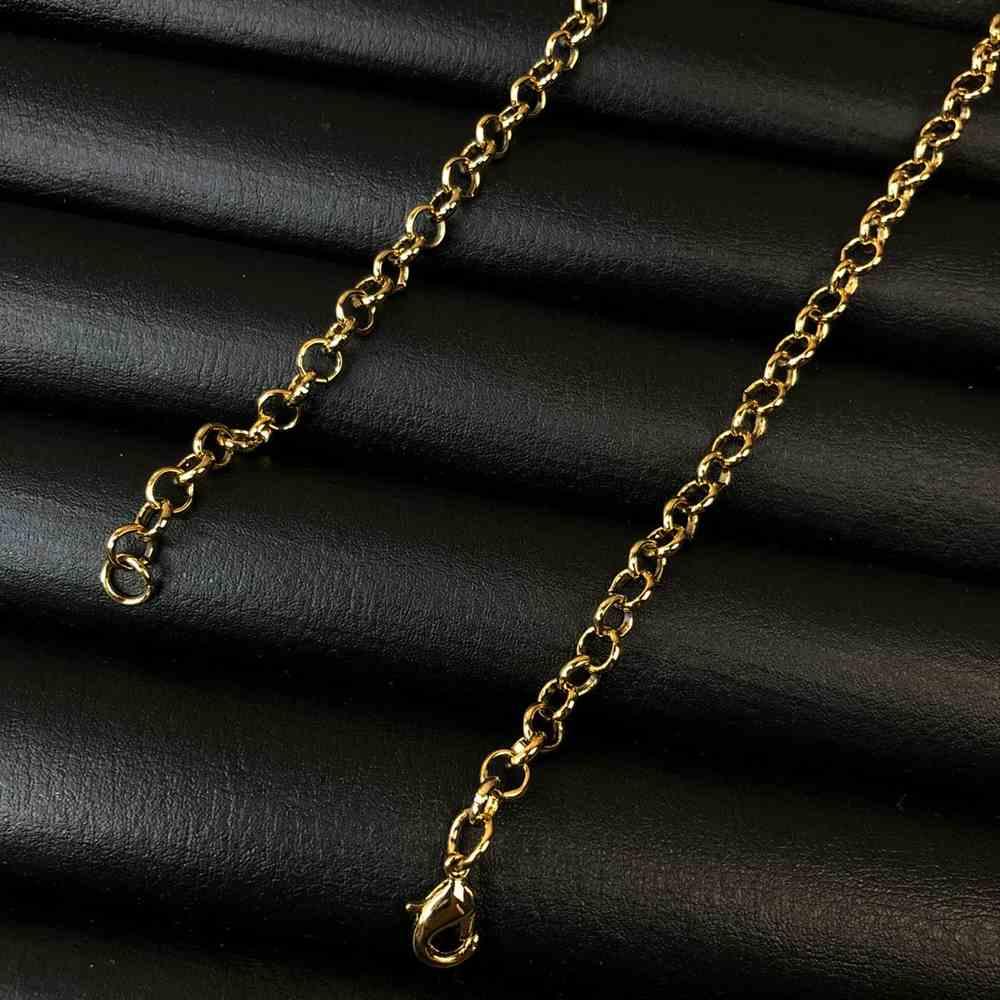 Corrente masculina elo português de aço inox dourado - 3mm