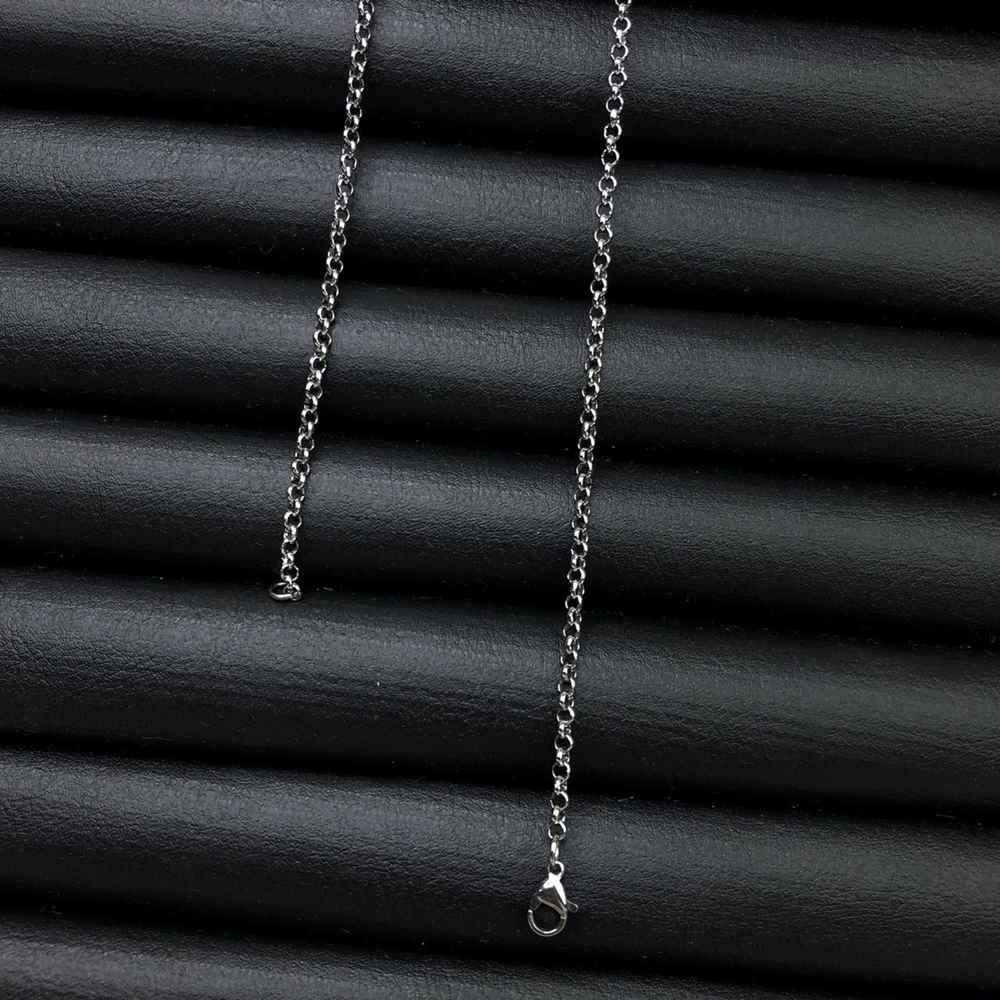 Corrente masculina elos português de aço inox prata - 3mm