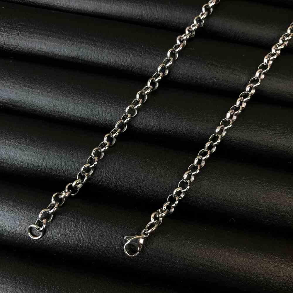 Corrente masculina elos português de aço inox prata - 4mm
