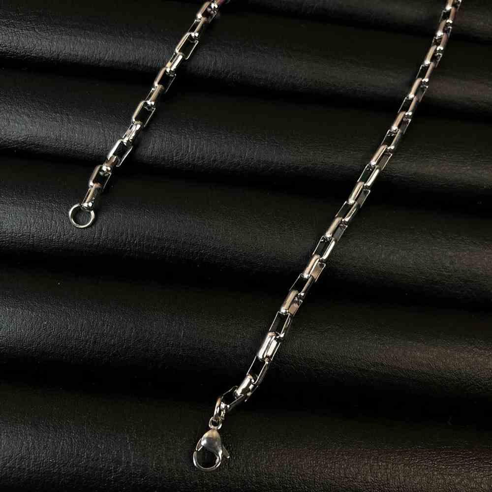 Corrente masculina elos quadrados de aço inox prata - 3mm