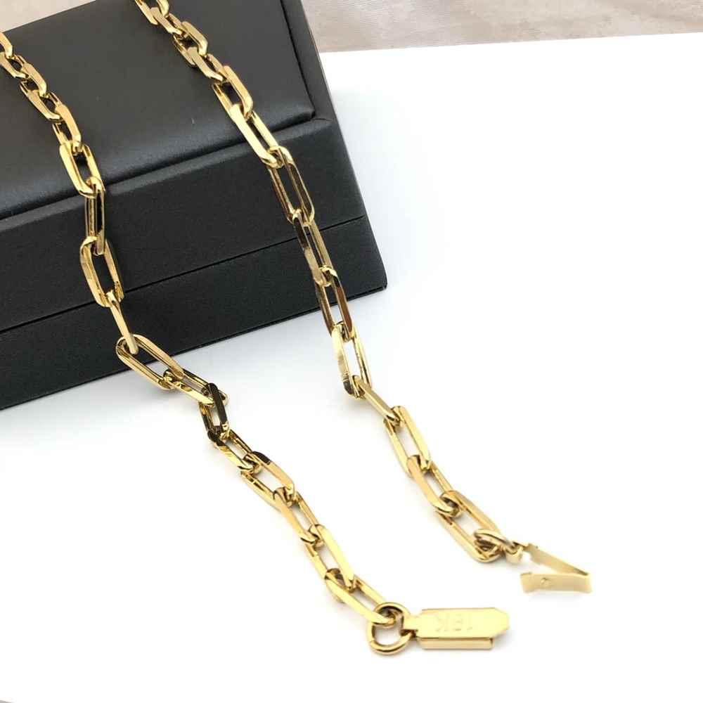 Corrente masculina elos quadrados largo dourada banhada aço inox 6mm - 70cm