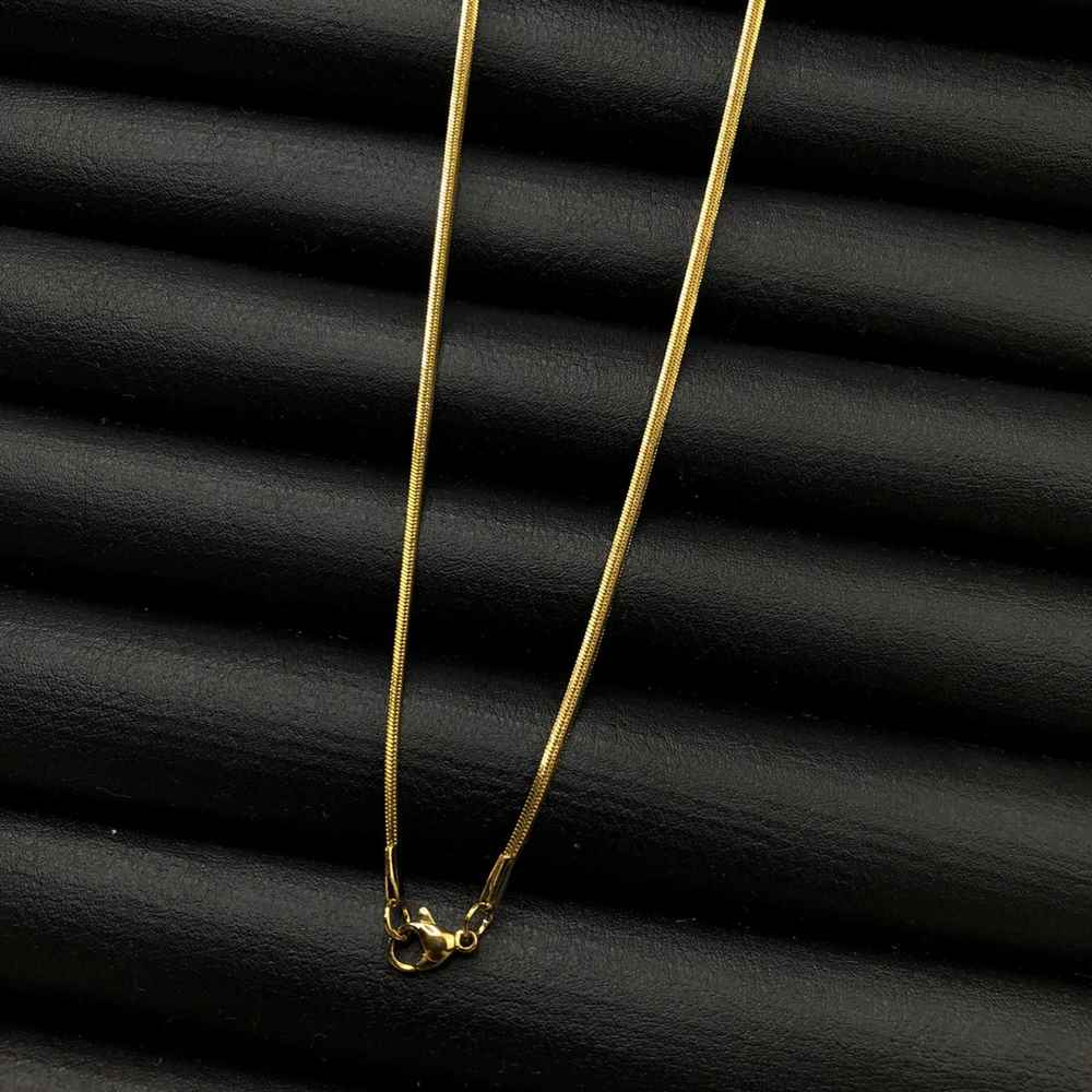 Corrente masculina fita lisa de aço inox dourada - 3mm