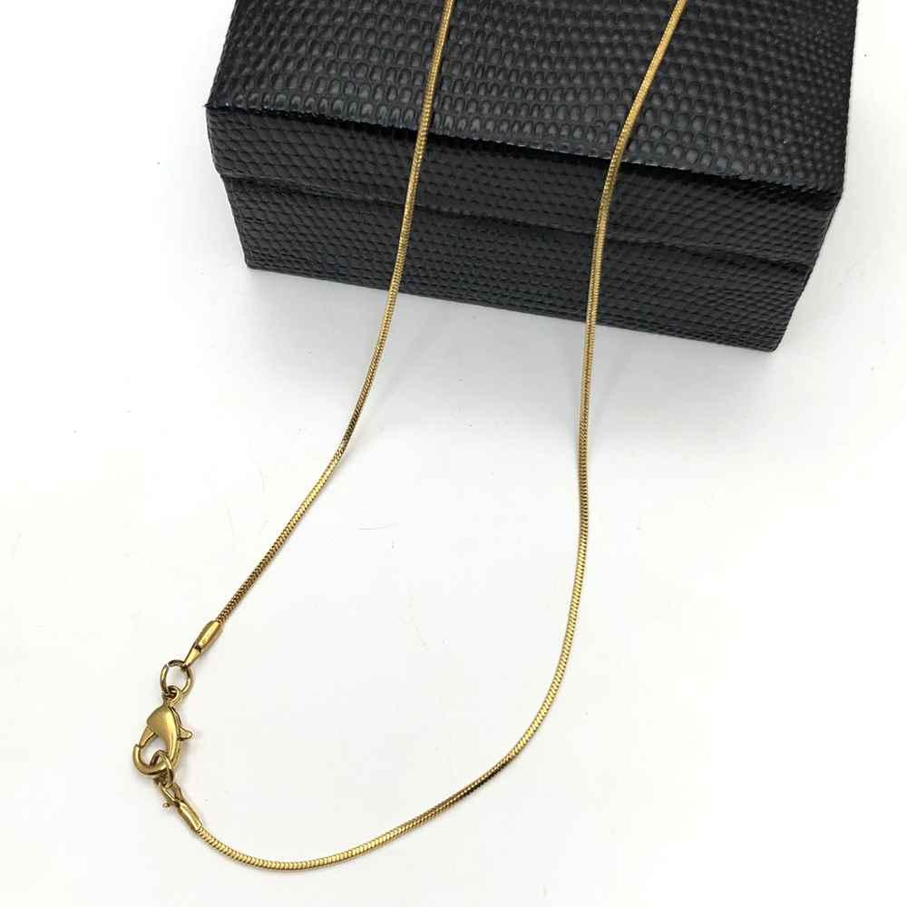 Corrente masculina fita lisa dourada banhada aço inox 1mm - 60cm
