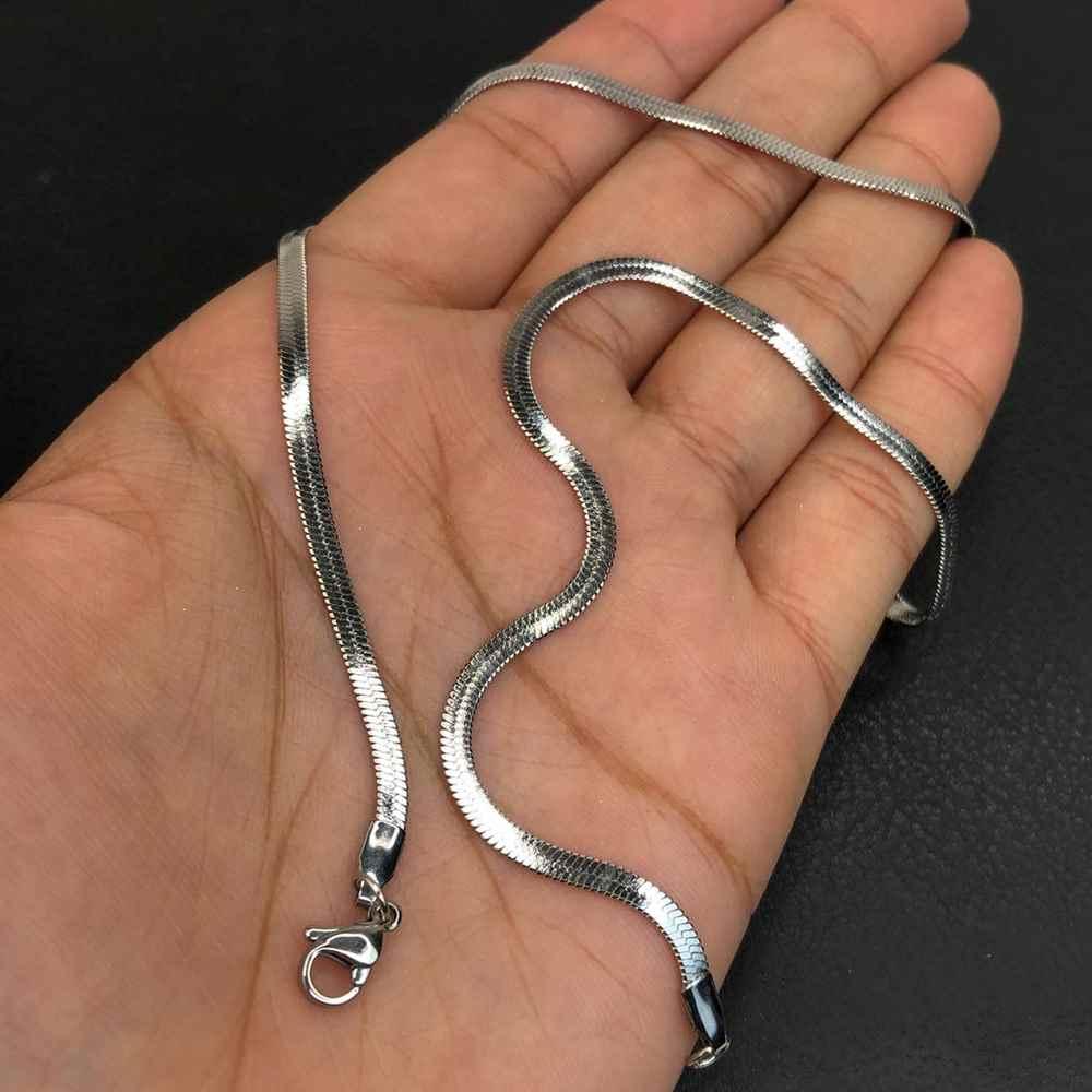 Corrente masculina fita lisa prata aço inox 3mm - 45cm