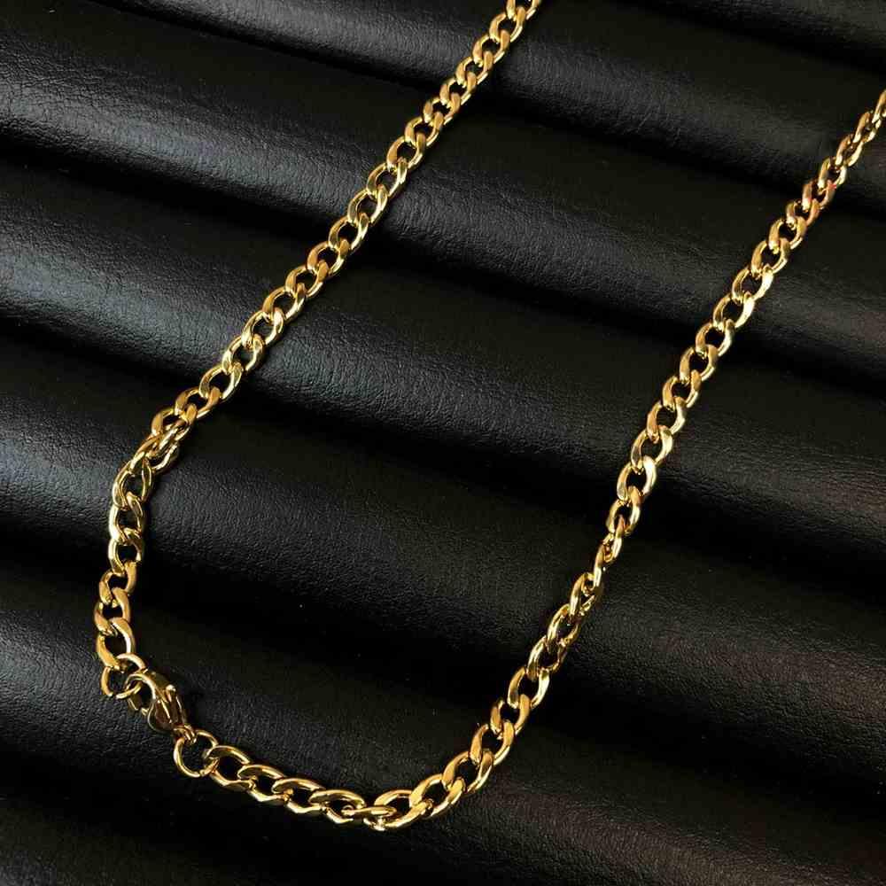 Corrente masculina groumet de aço inox dourado - 4mm