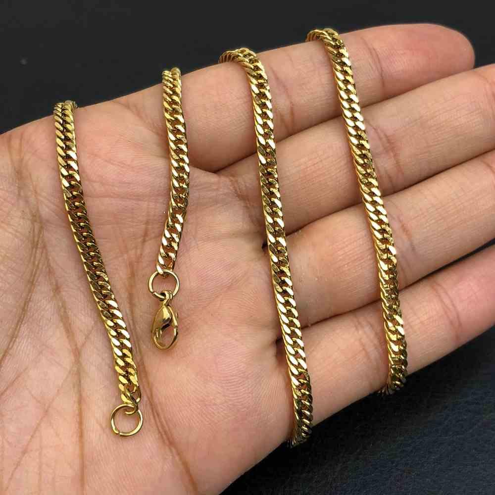 Corrente masculina groumet dupla dourada aço inoxidável 4mm - 70cm