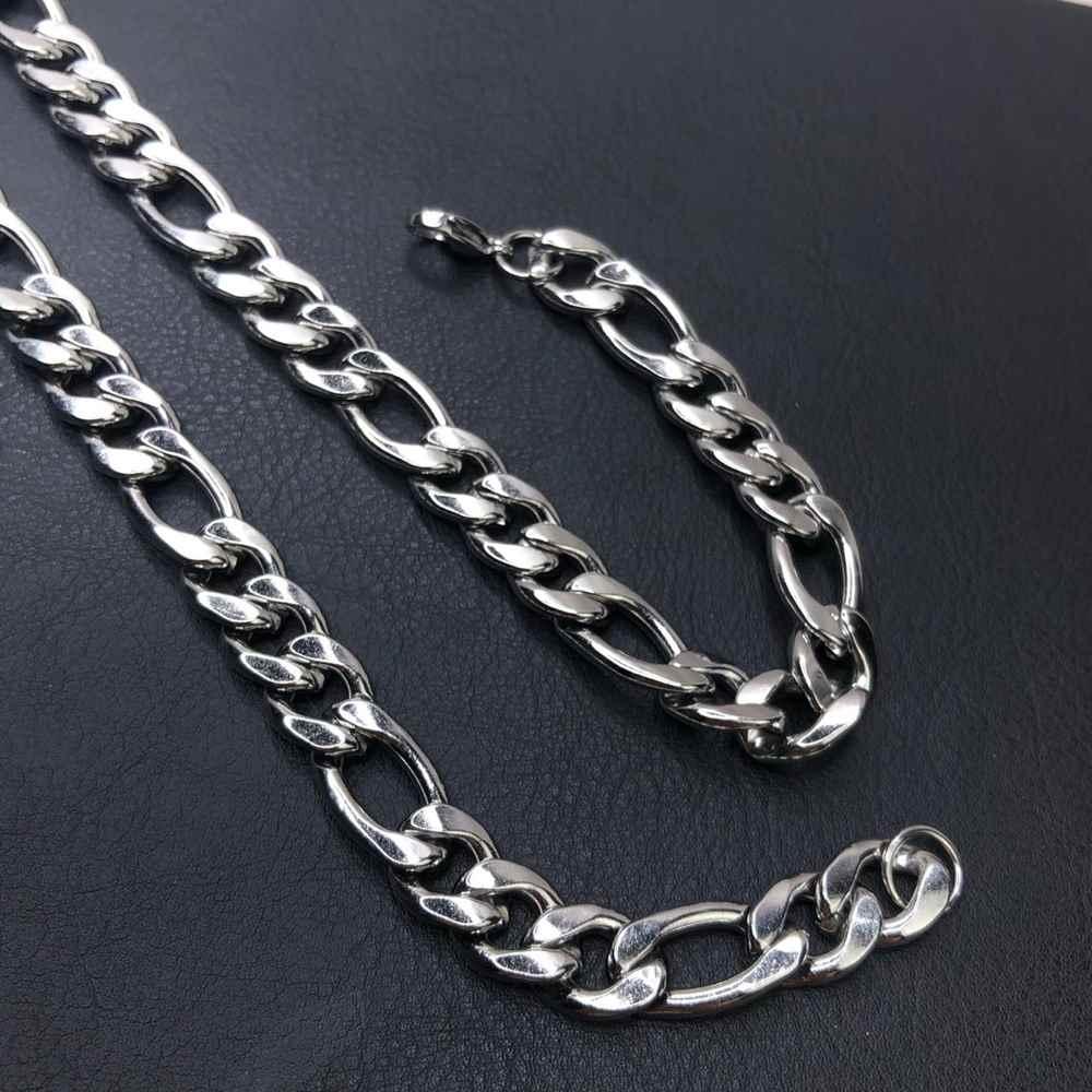Corrente masculina prata fígaro aço inoxidável 12mm - 70cm
