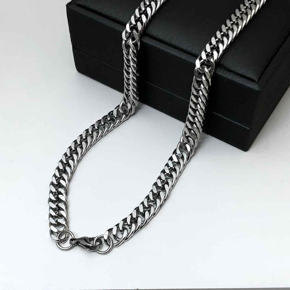 Corrente masculina prata groumet dupla aço inoxidável 10mm 70cm