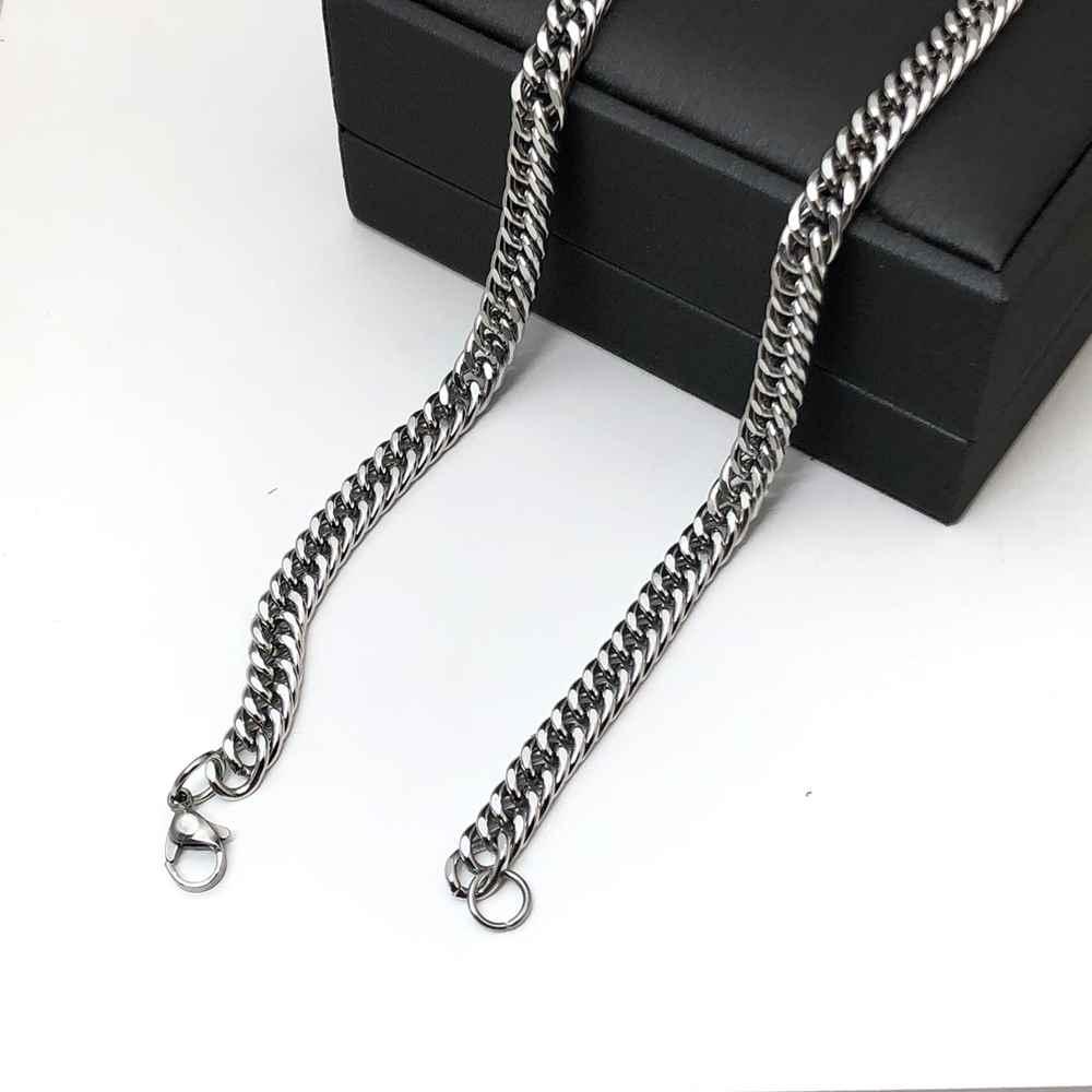 Corrente masculina prata groumet dupla aço inoxidável 6mm 60cm
