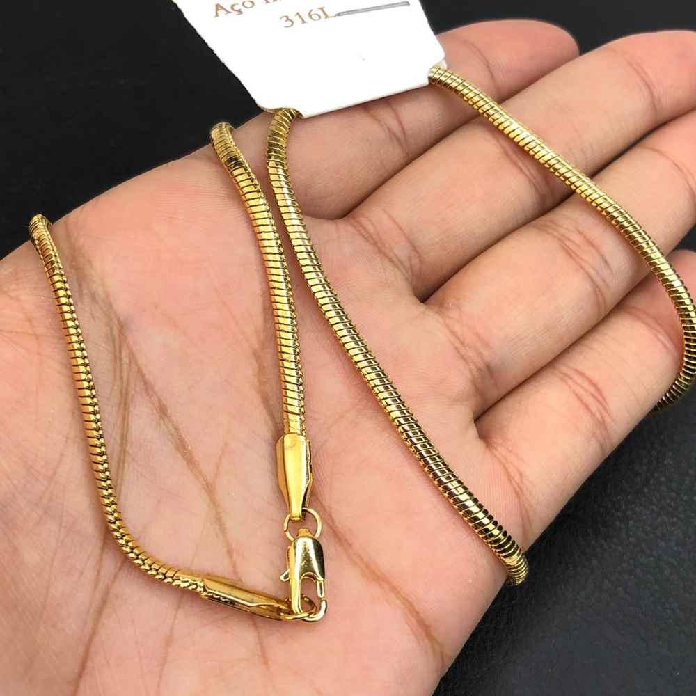 Corrente masculina rabo de rato dourada banhada aço inox 3mm - 55cm
