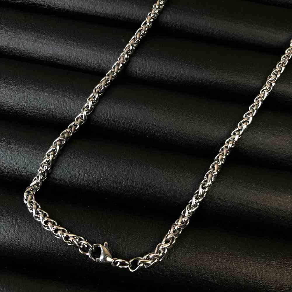 Corrente masculina veneziana de aço inox prata - 4mm
