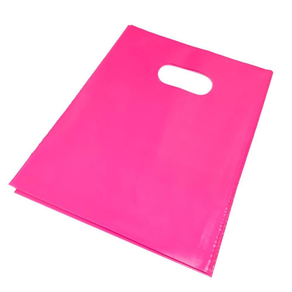 Embalagem Para Bijuteria Rosa Pink 15x30cm 10 Unidades - Sacola plástica alça vazada