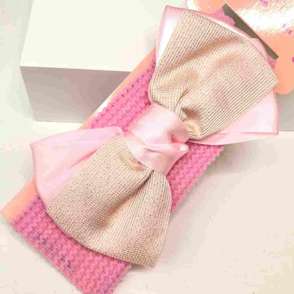 Faixa de cabelo para bebê rosa bebê