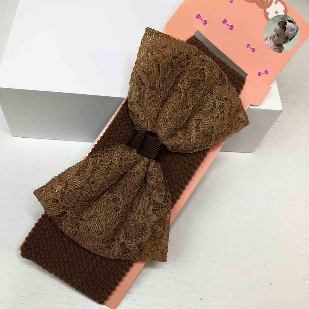 Faixa de cabelo para bebê rendinha chocolate