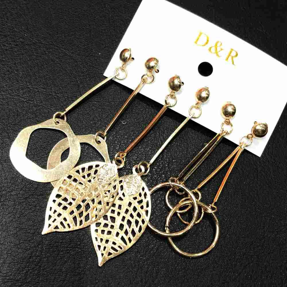 Kit 3 pares trio de brincos grandes dourado leves folha, aro vazado e geométrico