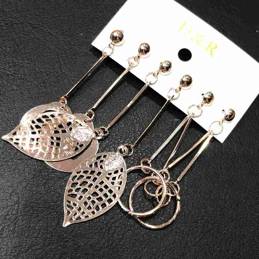 Kit 3 pares trio de brincos grandes rose leves folha, aro vazado e geométrico