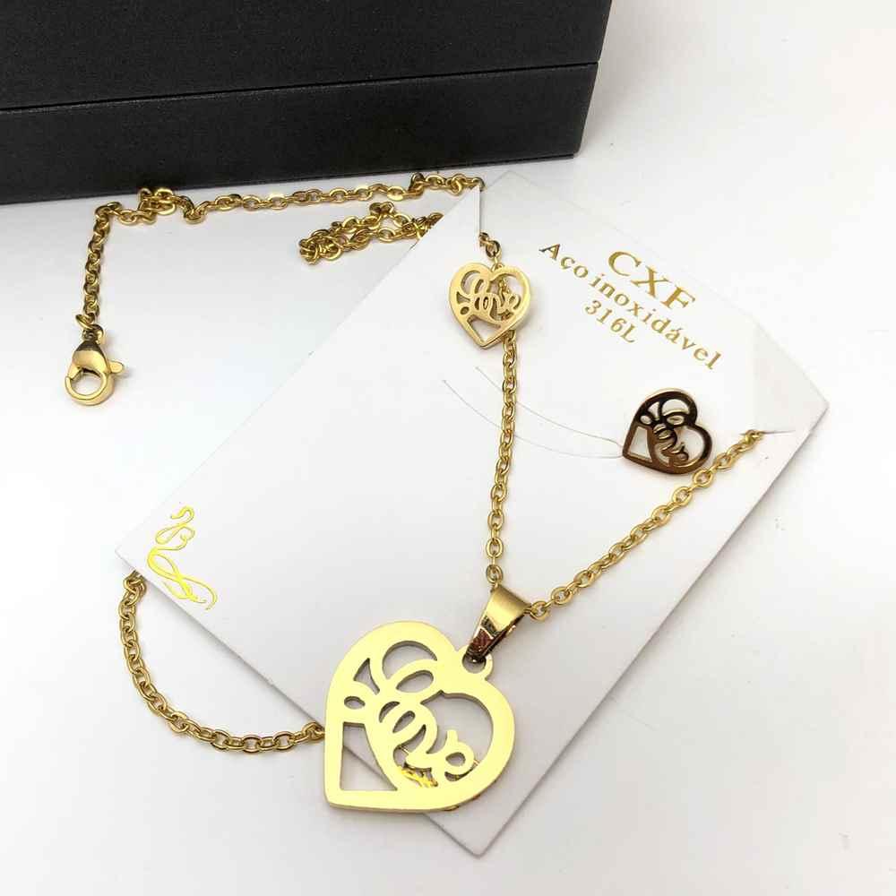Kit Conjunto colar e brinco banhado dourado coração LOVE