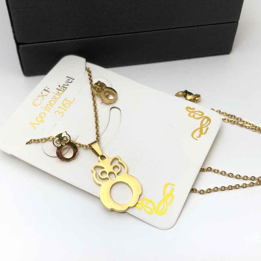 Kit Conjunto colar e brinco banhado dourado coruja corujinha
