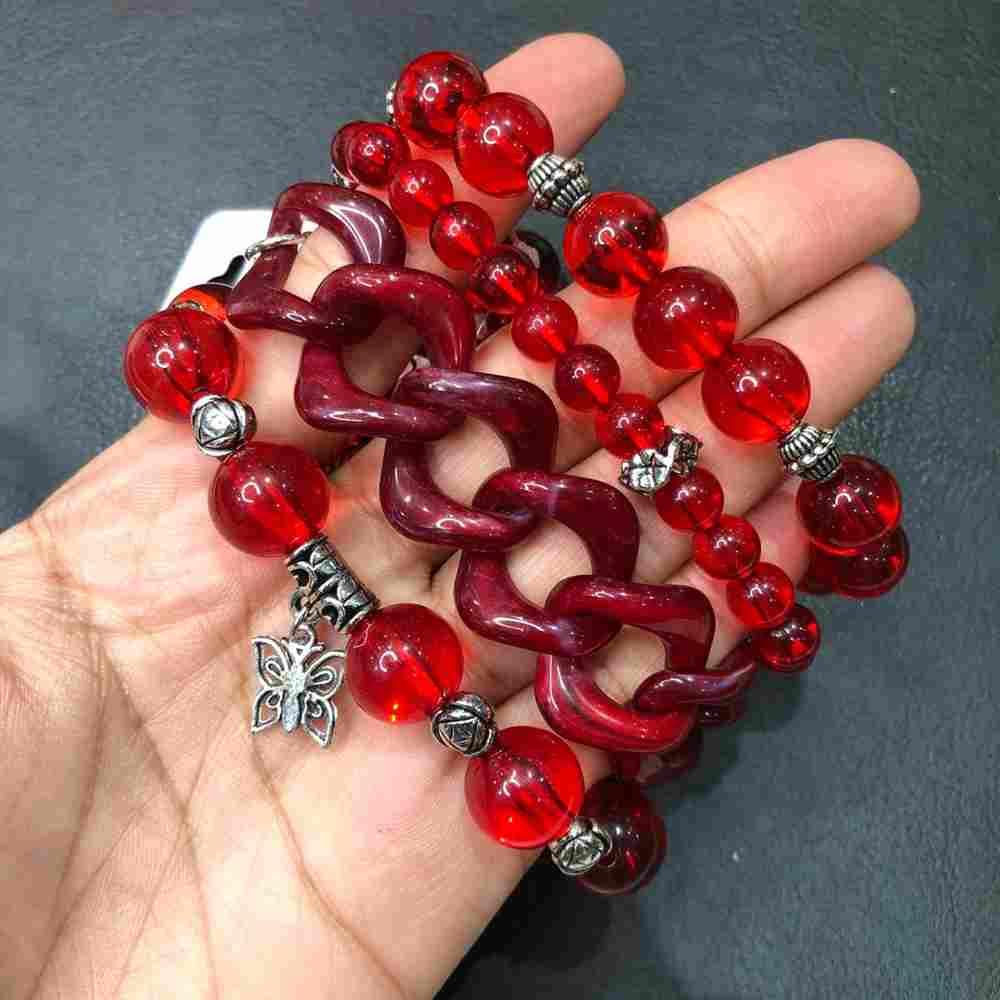 Kit de pulseiras mix de pulseiras com elos, cristais vermelho pingente variado