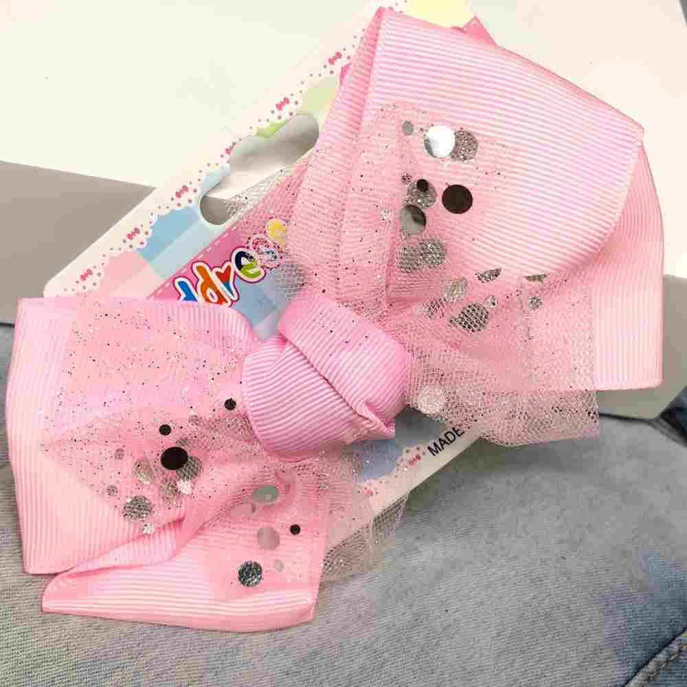 Laço infantil com biquinho de pato presilha rosa bebê