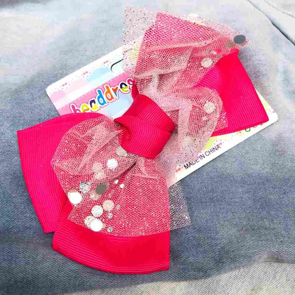 Laço infantil com biquinho de pato presilha rosa pink