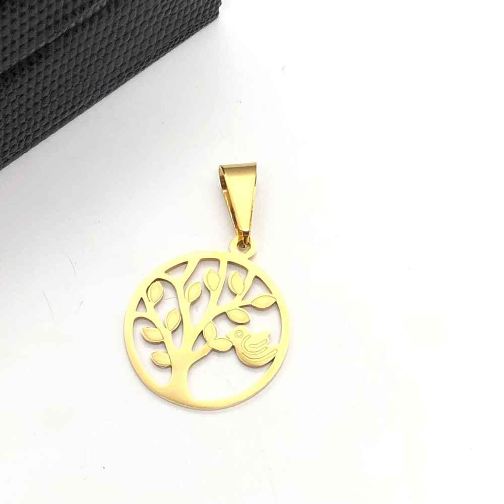 Pingente de aço banhado dourado árvore da vida