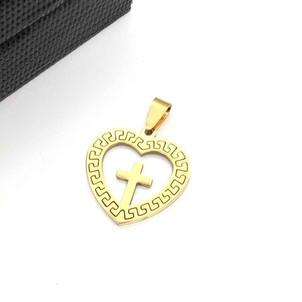 Pingente de aço banhado dourado coração com cruz