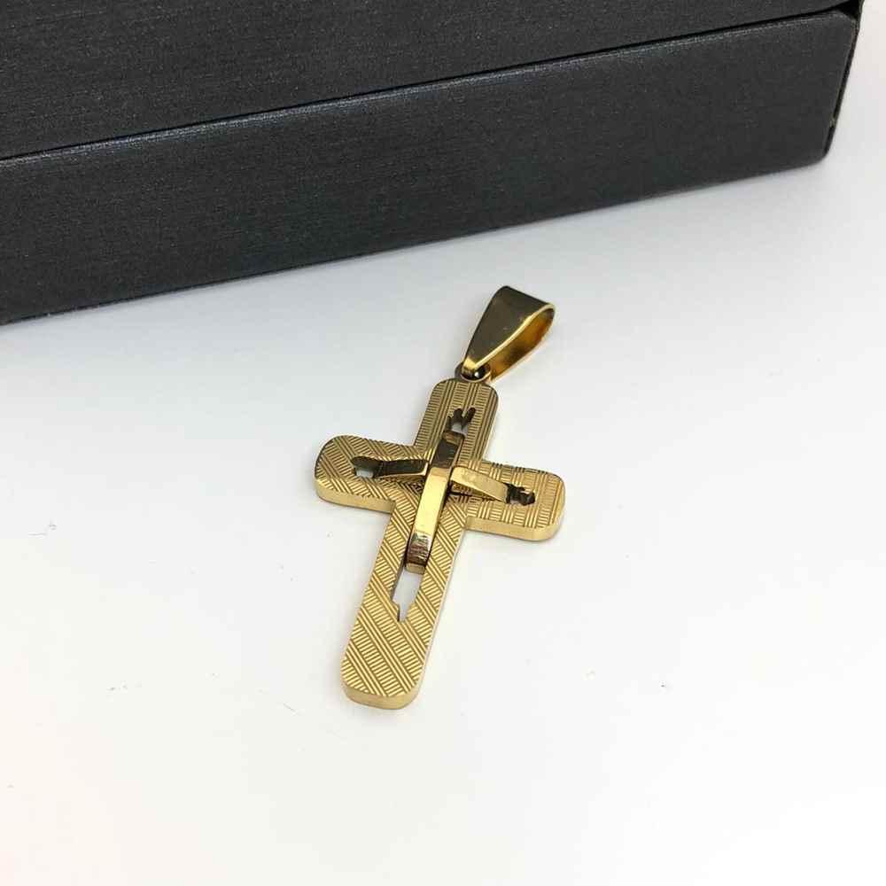 Pingente de aço banhado dourado cruz dupla