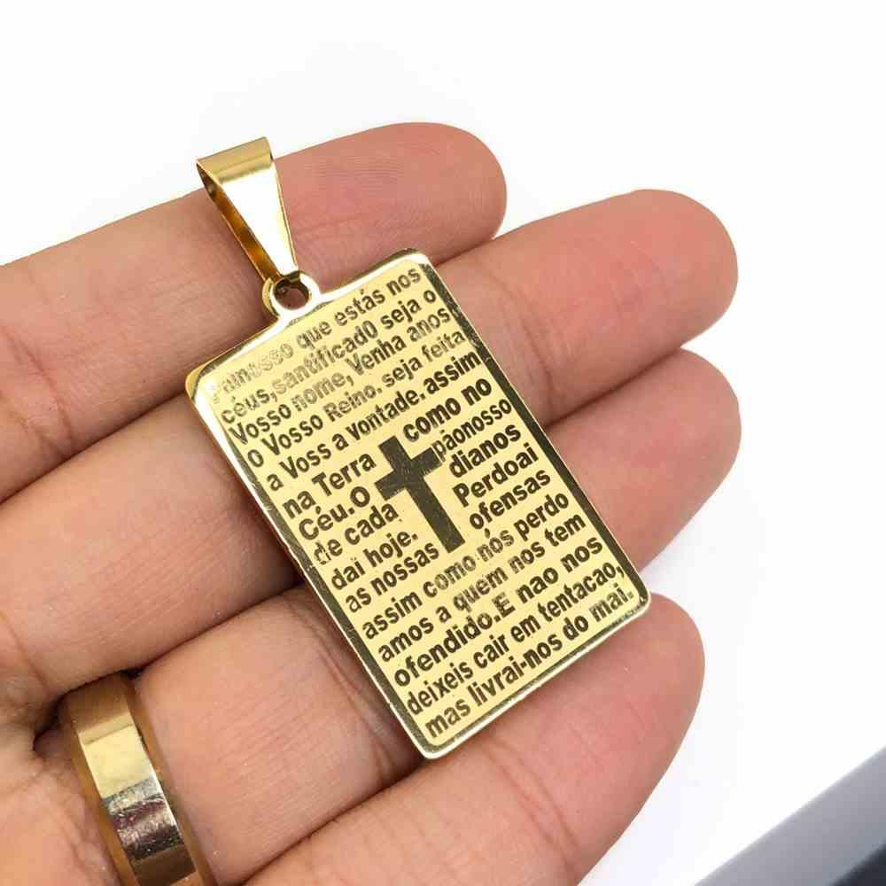 Pingente de aço banhado dourado placa Oração Pai Nosso