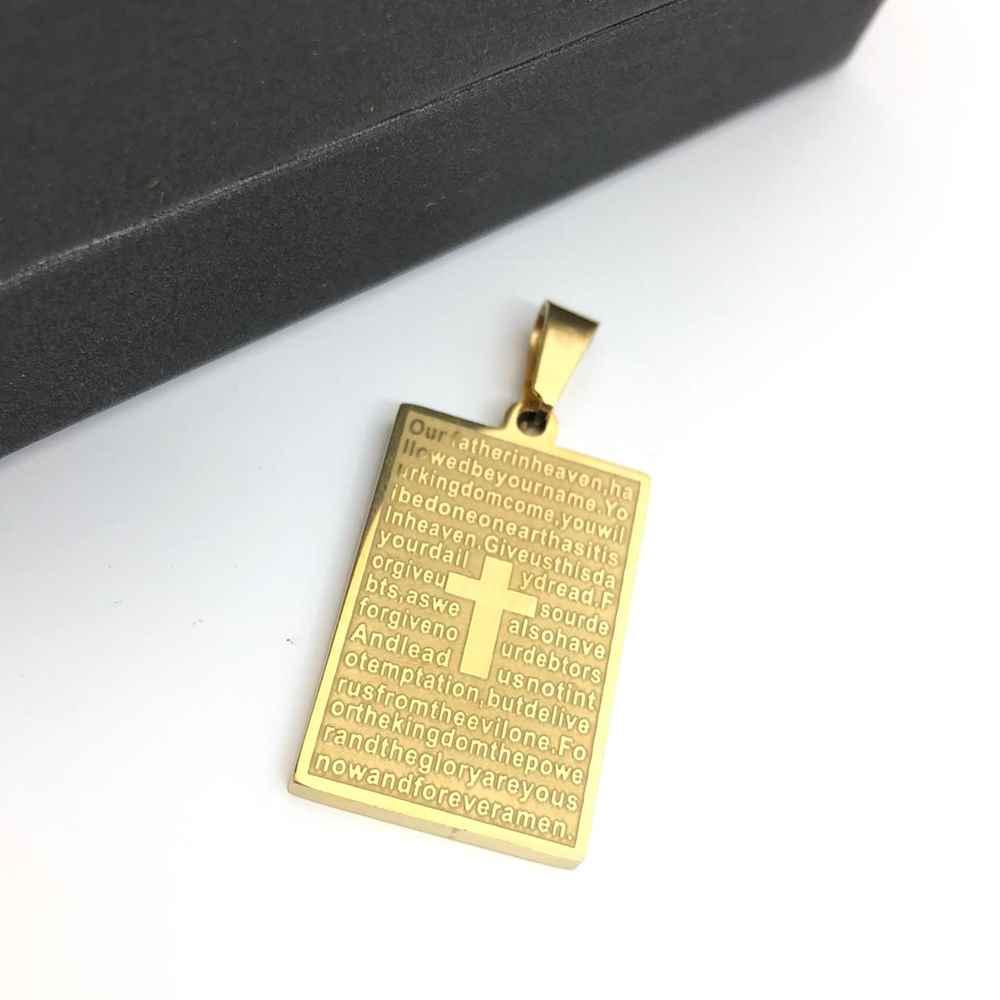 Pingente de aço banhado dourado placa oração pai nosso em inglês