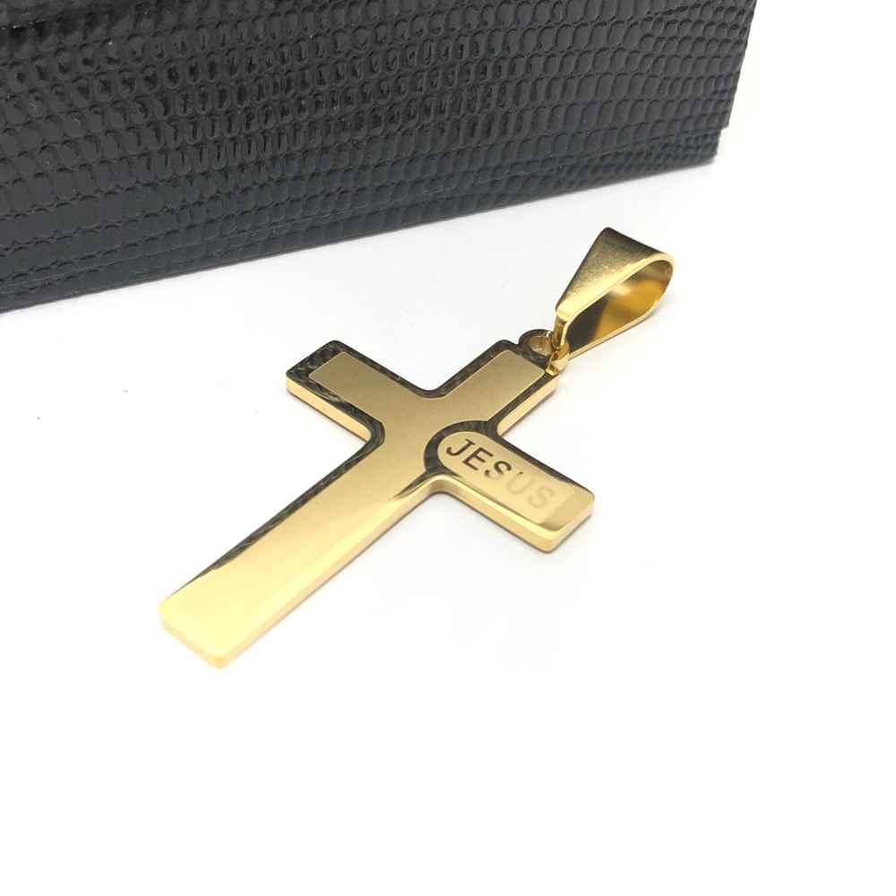 Pingente de aço dourado banhado cruz com nome Jesus