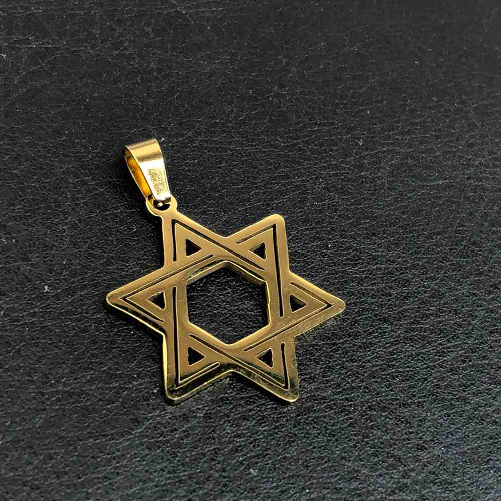 Pingente de aço dourado banhado estrela de Davi