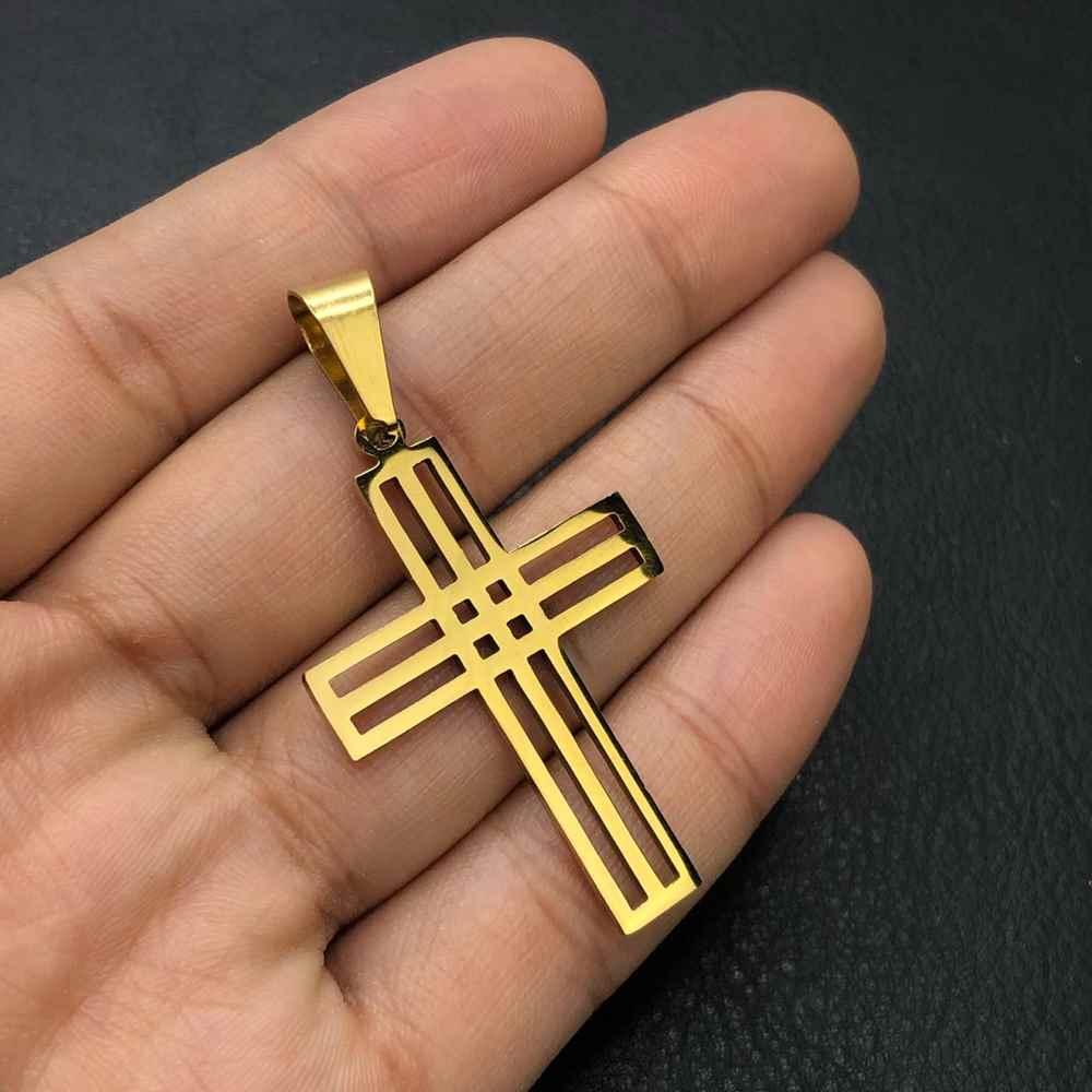 Pingente de aço dourado cruz vazada com fios