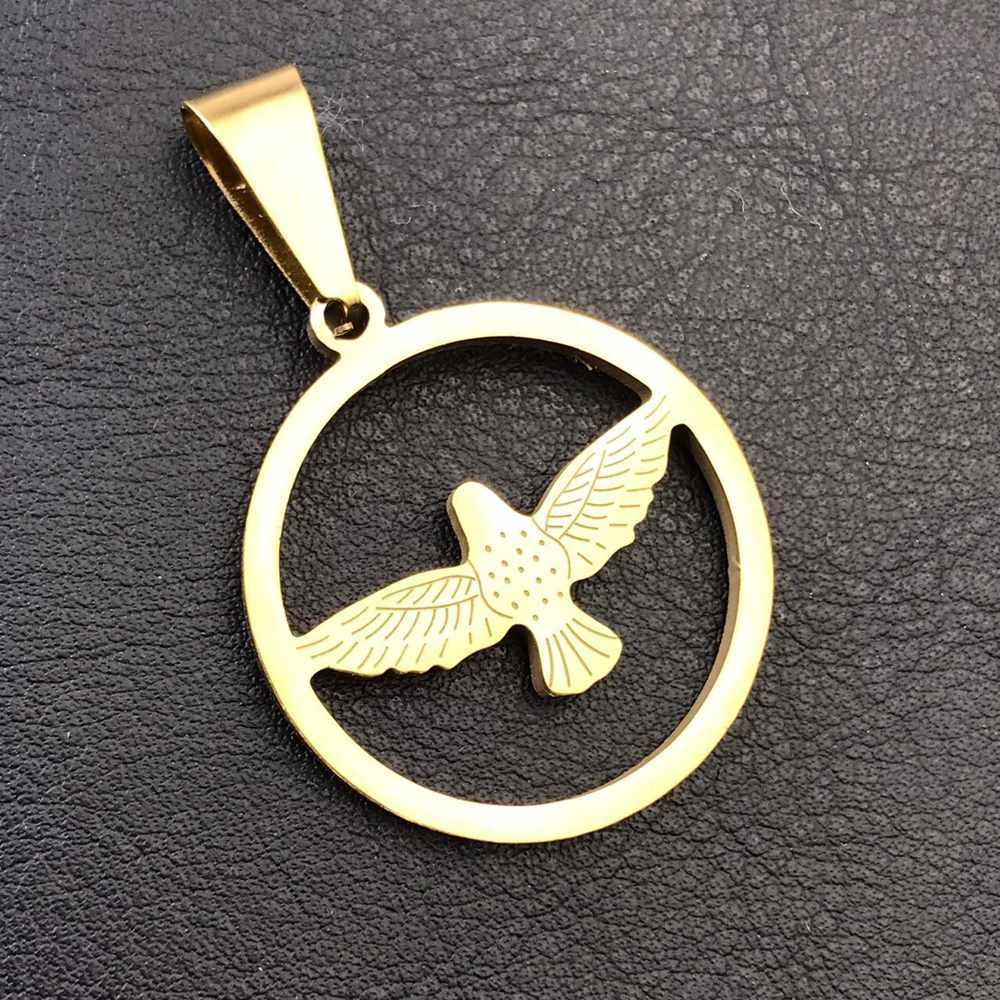 Pingente de aço dourado mandala Espirito Santo