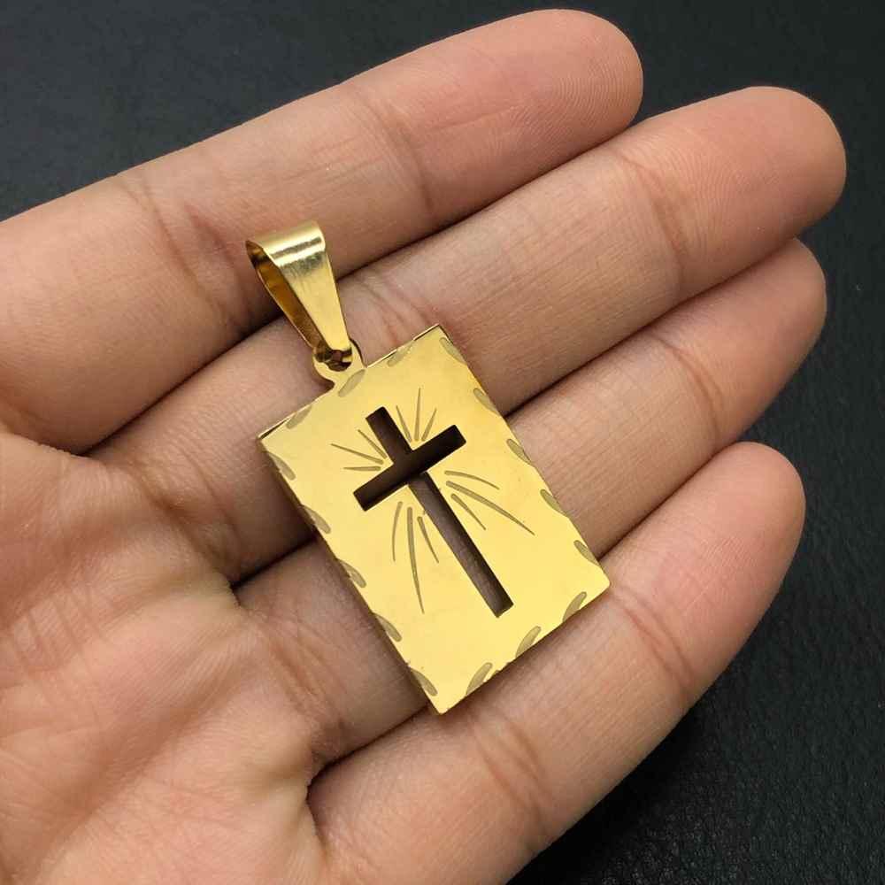 Pingente de aço dourado plaquinha cruz vazada resplandecente