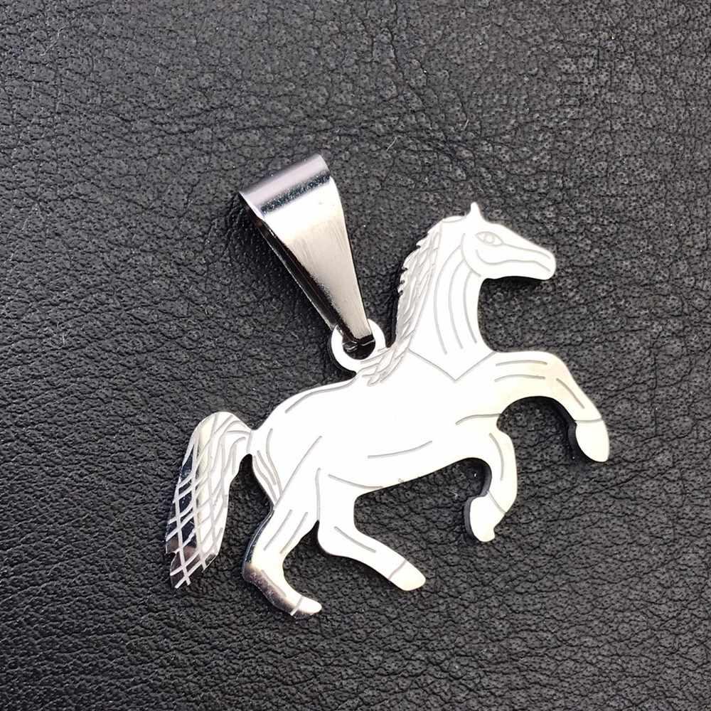 Pingente de aço prata cavalo country cowboy