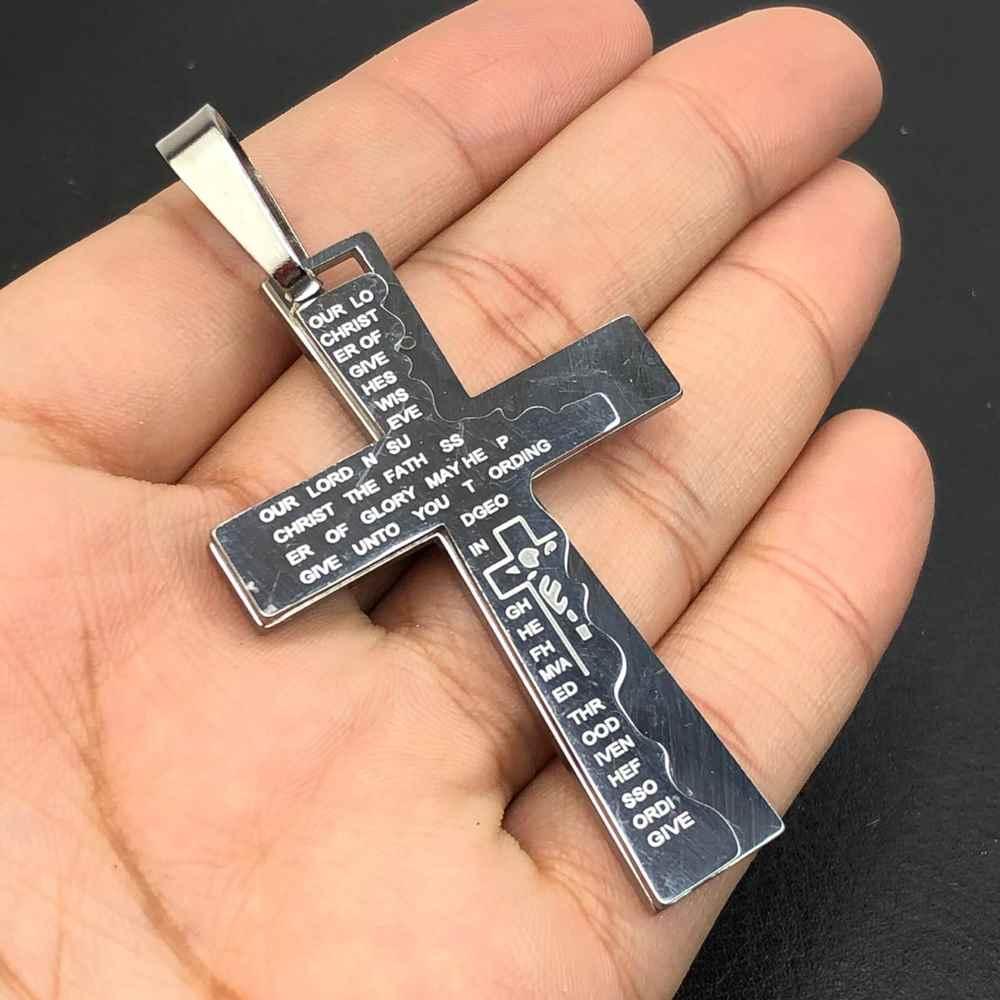 Pingente de aço prata cruz grande com oração pai nosso detalhada