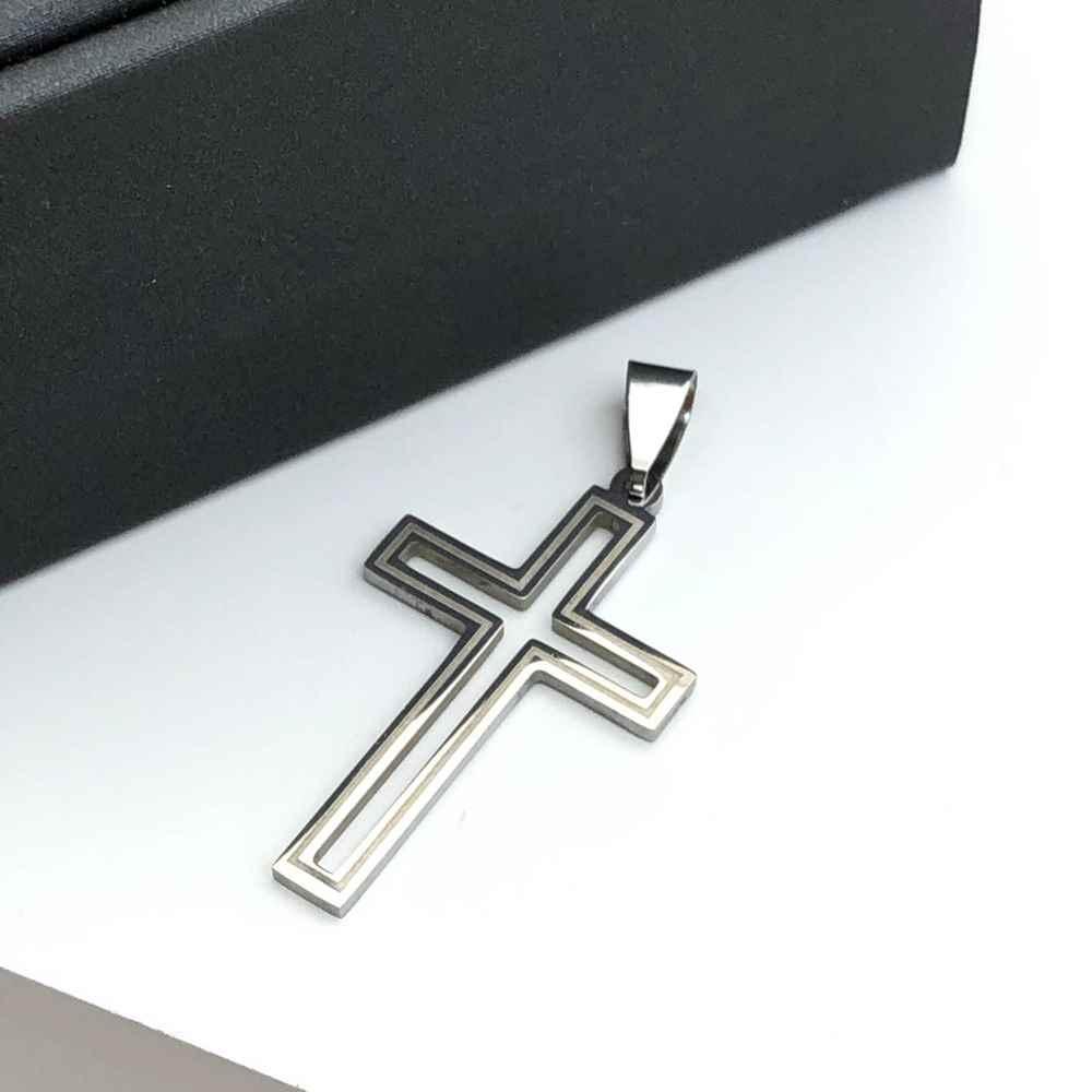 Pingente de aço prata cruz vazada