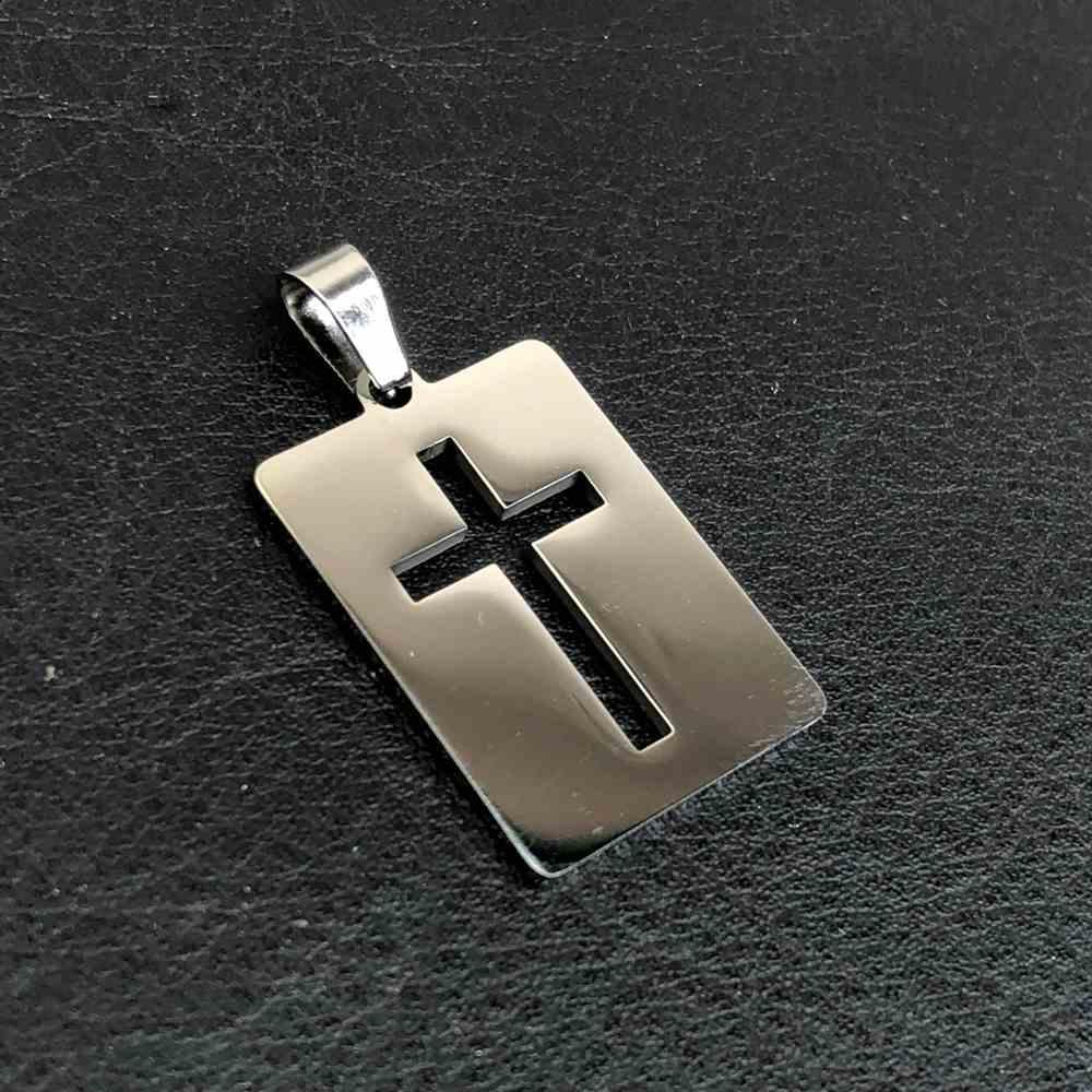Pingente de aço prata placa com cruz vazada